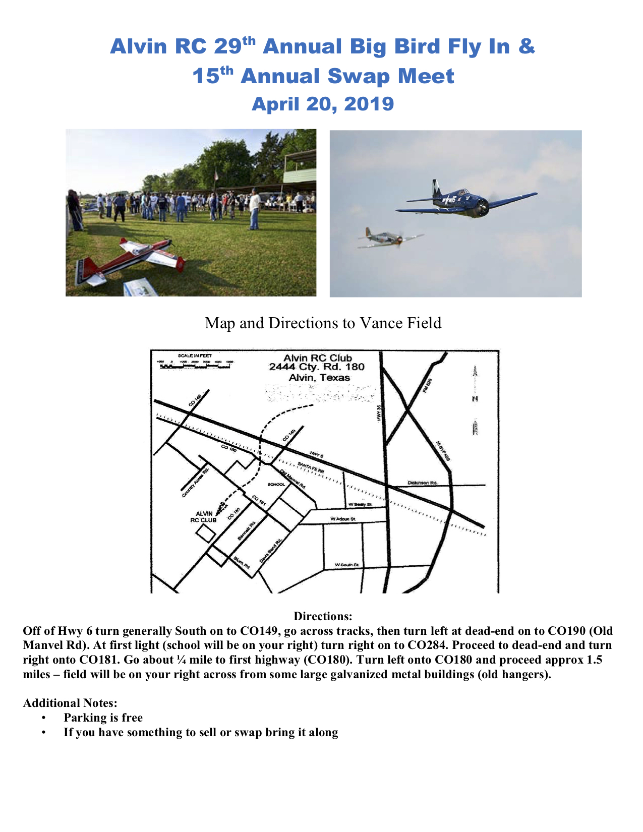 Alvin R/C Model Airplane Association - Flying R/C Airplanes